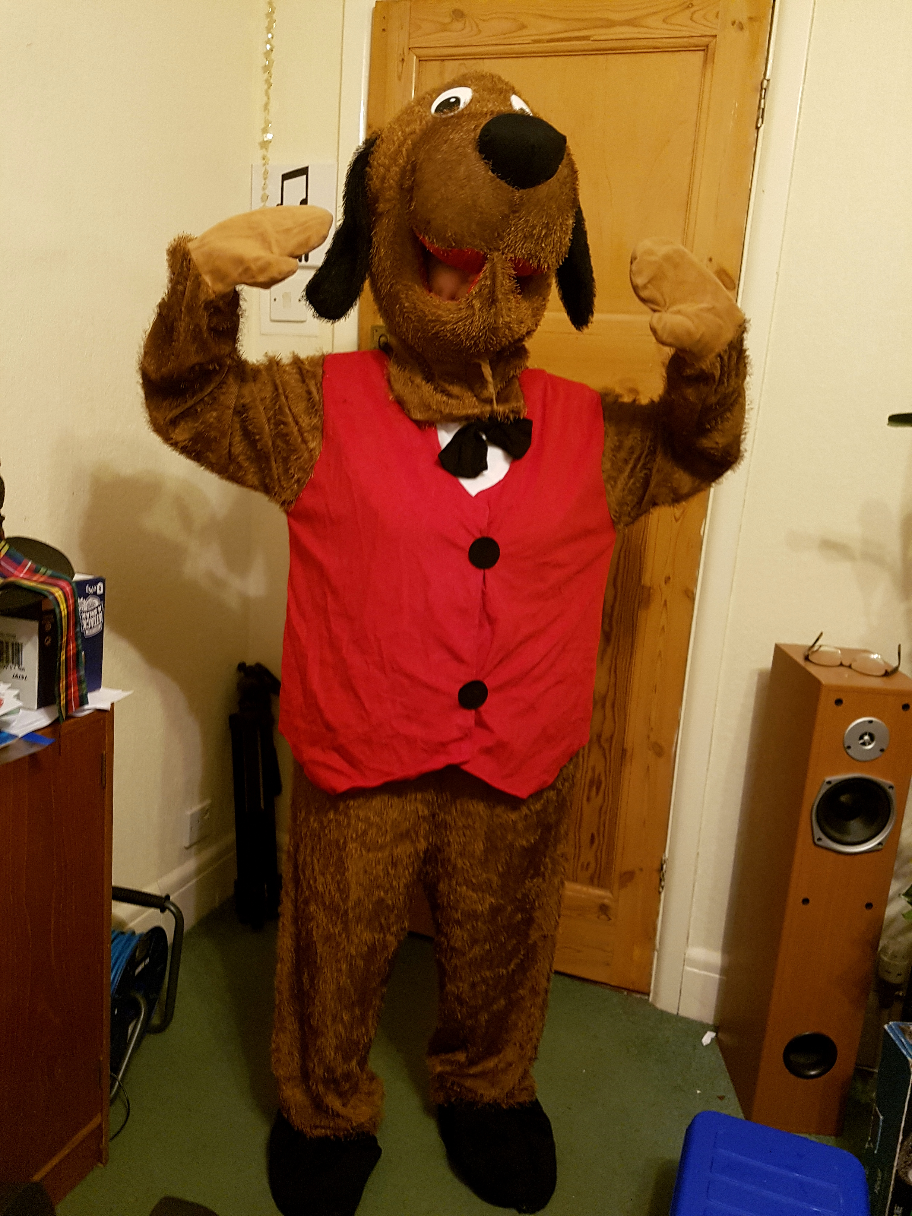 Brown Dog with Red Waistcoat Character Mascot Costume